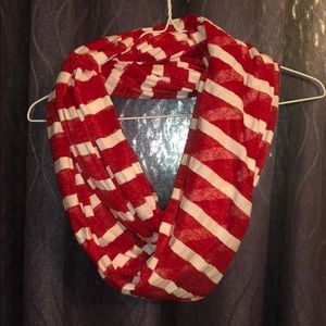 Accessories - Red and white striped infinity scarf